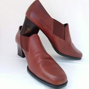 AEROSOLES SOFT LEATHER ANKLE COMFORT BOOTS SLIP-ON